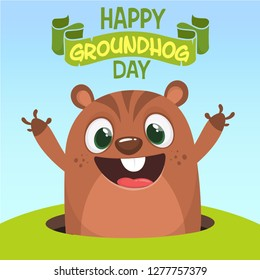 Vector Happy Groundhog day card with cute brown groundhog or marmot or woodchuck isolated on white background. Forecast spring animal in cartoon style for greeting design.