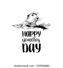 Vector Happy Groundhog Day sketched illustration with hand lettering. February 2 greeting holiday poster or card etc.