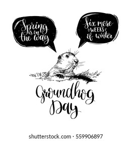 Vector Happy Groundhog Day sketched illustration. Hand lettering quotes: Spring Is On The Way, Six More Weeks Of Winter in speech bubbles. February 2 greeting holiday poster or card etc.