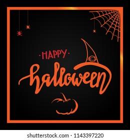 Vector 'Happy Haloween' lettering text. Halloween greeting card in dark colors.