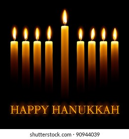 Vector Happy Hanukkah greeting card with candles on black background.