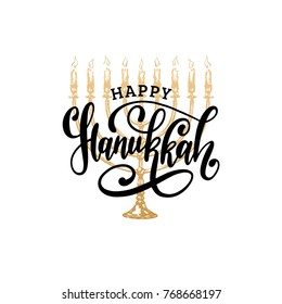 Vector Happy Hanukkah hand lettering. Festive poster, greeting card template with Menorah illustration.