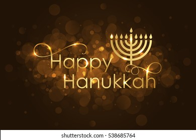 Vector Happy Hanukkah wish card with gold menorah