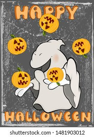Vector Happy Helloween Invitation Card with Cartoon Ghost Greeting Card  Happy Moment