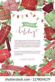 Vector Happy Holidays background. Merry Christmas design template with hand-drawn grain texture. Mistletoe leaves and berries, gifts, garlands of red and green lamps. There is copyspace for your text.