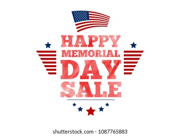 Vector Happy Memorial Day Sale banner. National american holiday illustration with USA flag. Festive poster or banner with watercolor typography.