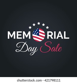 Vector Happy Memorial Day Sale card. National american holiday illustration with USA flag. Festive poster or banner with hand lettering.