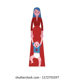 Vector happy mother standing holding hands of newborn toddler baby with smile at face. Family characters, adult woman and small son kid standing together. Isolated flat illustration