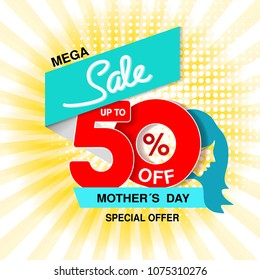 Vector Happy Mother's Day. Big sale banner. Mega sale, up to 50 % off. Red blue special offer. Template design with silhouette of mother on yellow striped background.