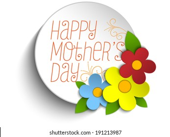 Vector - Happy Mothers Day Card with Flowers