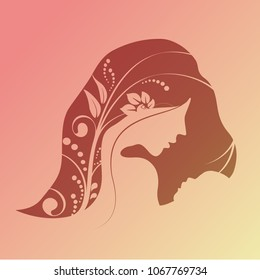 Vector Happy Mother's Day. Greeting card with woman silhouette and baby silhouette. Floral background.