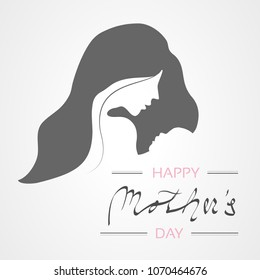 Vector Happy Mother's Day. Greeting card with woman silhouette and baby silhouette. Decoration text.
