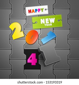 Vector Happy New Year 2014 Paper Title on Grey Path
