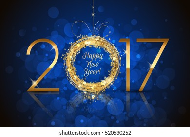 Vector Happy New Year 2017 glowing blue background