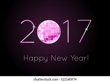 Vector - Happy New Year 2017. Discoball