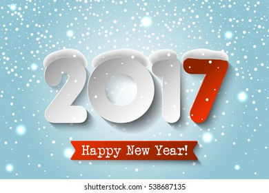 Vector Happy New Year 2017 background with paper numbers