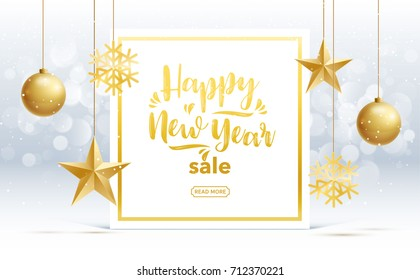 vector happy new year 2018 sale gold and black collors place for text christmas balls  2019