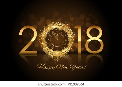 Vector Happy New Year 2018 - New Year background with gold clock