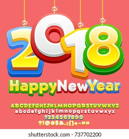 Vector Happy New Year 2018 greeting card for Children with cute Christmas toys. Funny Alphabet Letters, Numbers, Symbols. Multicolored Font contains Graphic Style