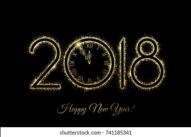 vector happy new year 2018 new year background with gold clock and gold glitter on