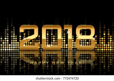 Vector - Happy New Year 2018 festive gold background