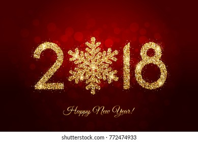 Vector - Happy New Year 2018 - New Year background with gold snowflake