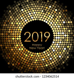 Vector - Happy New Year 2019 - gold disco lights frame
