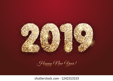 Vector - Happy New Year 2019 - New Year background with gold glitter on red background