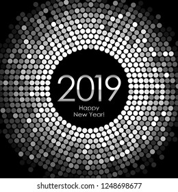 Vector - Happy New Year 2019 - silver disco lights frame