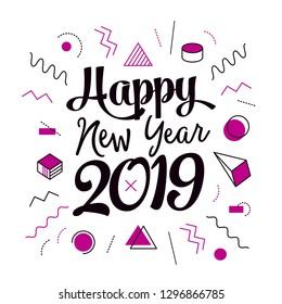 Vector happy new year 2019 simple memphis design
