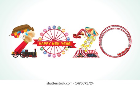 Vector Happy New Year 2020  text design with amusement and carnival funfair concept isolated on white background.