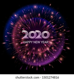 Vector. Happy New Year 2020. Dark abstract background. The explosion fireworks.  Bright burst of festive fireworks. Lights and luminous particles. Template for greeting cards, banners, invitations.