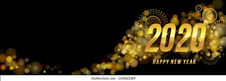 Vector Happy New Year 2020 for greeting card with fireworks and gold number design isolated on black background.