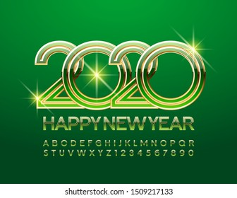 Vector Happy New Year 2020 bright Greeting Card. Сhic Alphabet Letters. Green and Golden Font.