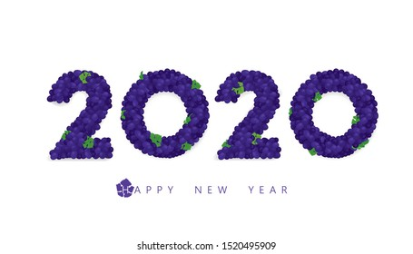 Vector Happy New Year 2020  text design with red grapes wreath concept isolated on white background.