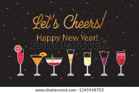 vector happy new year background with champaign cocktail illustration designs and lets cheers gold text in
