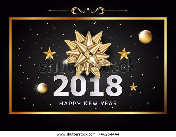 Vector Happy New Year background and celebration christmas day with golden gift bow