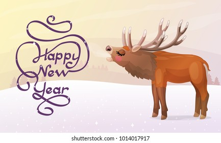 vector Happy New Year greeting card. Winter christmas template. Handdrawn pastel cartoon horizontal illustration. Handwritten calligraphy inscription. Festive postcard with roaring red deer & text.