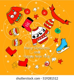 Vector happy new year and merrry christmas card with winter doodles