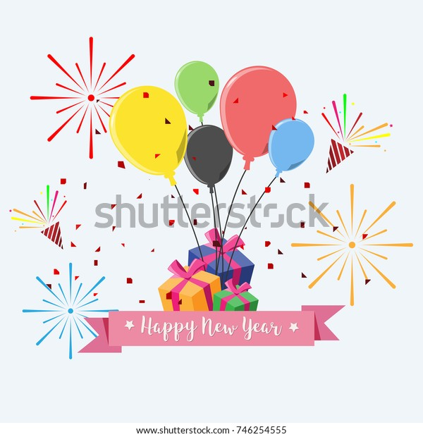 Vector Happy New Year modern greeting card for celebration in flat design style. illustration