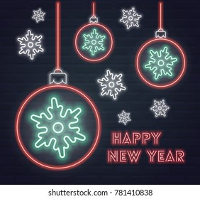 Vector 'Happy New Year' poster with balls and snowflakes in neon style