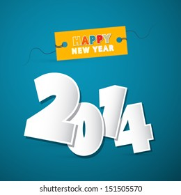 Vector Happy New Year Theme Numbers Made Form Paper on Blue Background