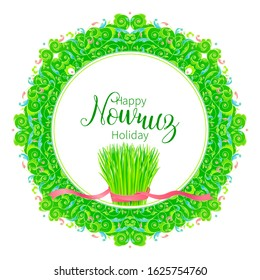 Vector Happy Nowruz Holiday greeting card. Banner with lettering, wheat grass, flowers, leaves for holidays spring celebration. Novruz. Navruz. March equinox. Iranian, Persian New Year. Colorful label