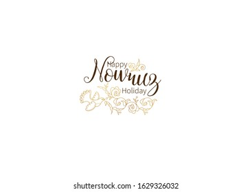 Vector Happy Nowruz Holiday greeting card. Banner with lettering, golden bird, flowers, leaves for holiday spring celebration. Novruz. Navruz. March equinox. Iranian, Persian New Year. Springtime.