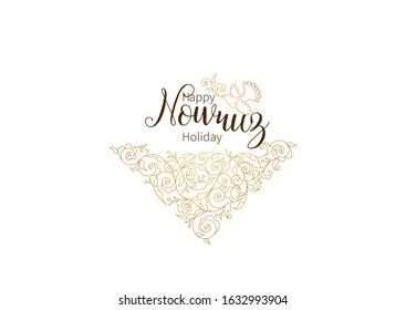 Vector Happy Nowruz Holiday greeting card. Banner with lettering, bird, floral for holidays spring celebration. Novruz. Navruz. March equinox. Iranian, Persian New Year. Golden label. Springtime