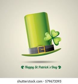 vector happy saint patrick's day poster with green hat and lucky clover isolated on background.  vector vintage leprechaun green glossy hat label