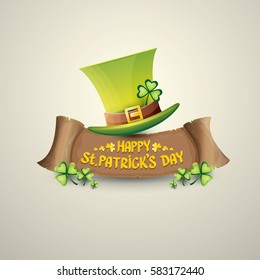 vector happy saint patrick's day label or poster with green hat, lucky clovers and vintage ribbon isolated on background. vector saint patriks day banner or greeting card