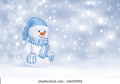 Vector of happy snowman on snowfall background.