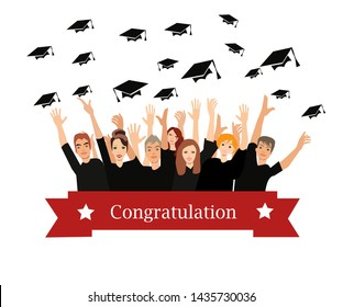 Vector of happy students celebrating graduation from school or college