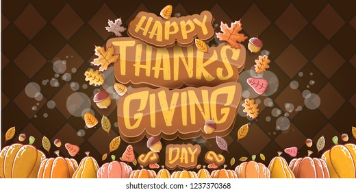 vector Happy Thanksgiving day holiday horizontal banner background with greeting text, orange pumpkins and falling autumn leaves isolated on brown background. Thanks giving poster or flyer